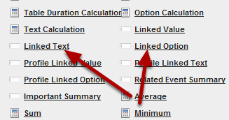 You can link an option or text field from one Event Form into another Event Form