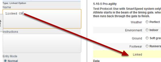 This example outlines how to add in a Linked Option Field. Add in the new Linked Option question and name it