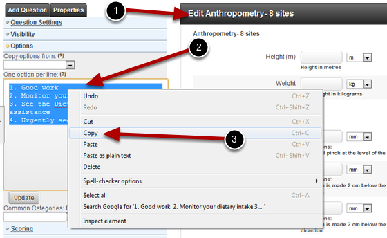 Open the Event Form that you are linking FROM. Copy the options directly from the field that you want to link to.