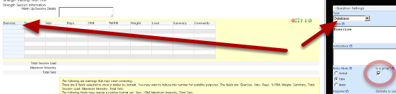 """Create the resistance training form to include the fields that you want to track. You MUST have the Exercise field as a database and tick the """"group by"""" (shown in the image here)"""