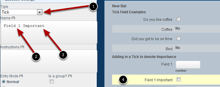 Copy the name of the question you just added, add in a Tick field and paste in the name and add in Important, Priority or Summary (anything to let the users know they tick it for importance)
