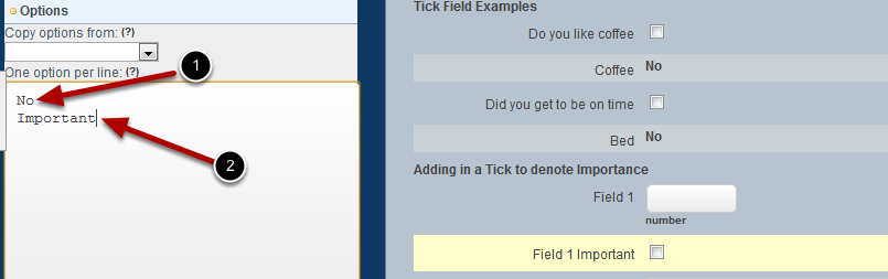 """Add in TWO Options and click Update. The first option MUST be """"No"""" or """"Nil"""". The second option can be something like """"Yes"""", """"Important"""", """"Priority"""""""