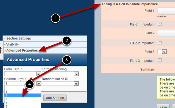 Set the Column to be a 2 column layout (because you have a field and a tick that need to appear on the same line-row)