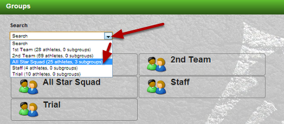 You can now see a full list of all of the groups, the number of subgroups in that group, and the number of athletes. Select a Group and they will load