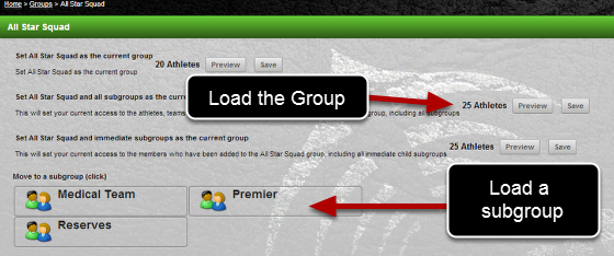 It automatically loads up the group you select from the dropdown