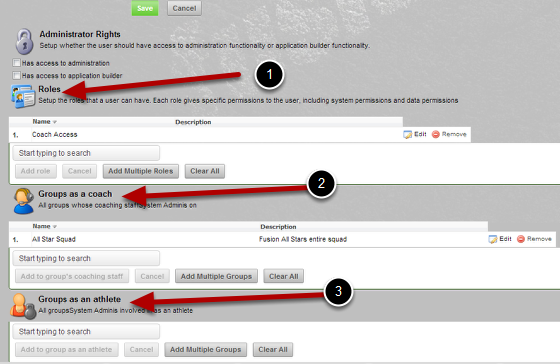 To simplify the layout of the Permissions and Access  the following order has been set when viewing a user