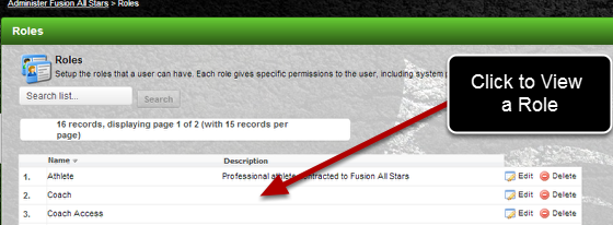 The layout of the Permissions and Access has been updated when you view a Role.