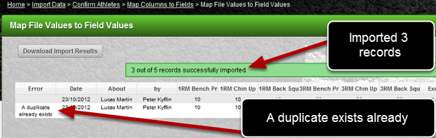 A duplicate already exists on the system. Any data which is NOT a duplicate will be imported.