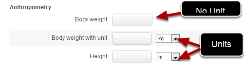 You can set up a numeric field with a unit (e.g. weight with kg's)
