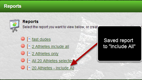 "This means when a new person is added into this group, if you saved the report as ""Include All"" all of the athletes (including any new athletes) will automatically appear in the loaded report"