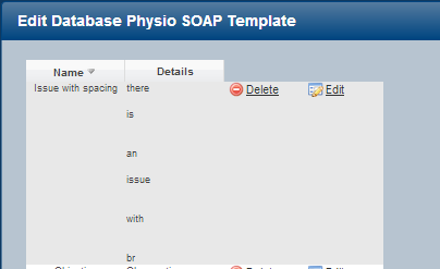If there were line spaces in a database template (as shown here) they were appearing as a <br> when selecting them from a table cell (as shown below)