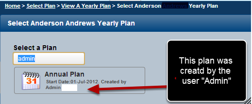 You can see the name of the user who created the plan when you click to view a players or a group plan
