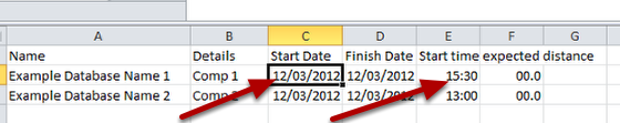 However, if you imported in a file into a database that had date and duration fields in the database, these values (shown here) would not import