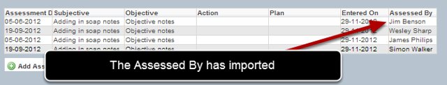 Once the data is imported, you can open a record and see that the Entered By now shows the imported data.