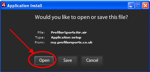 "3.1 The application will install, then click ""Open"""