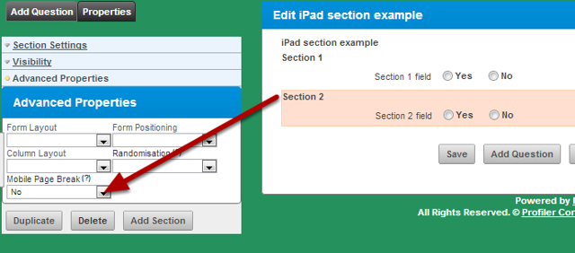 Each Section (and the fields in that section) can now be set to NOT appear as a separate page on the Mobile App, but instead will appear combined with other section's fields.