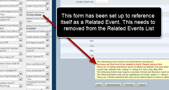 3. An event form cannot access itself as a Related Event