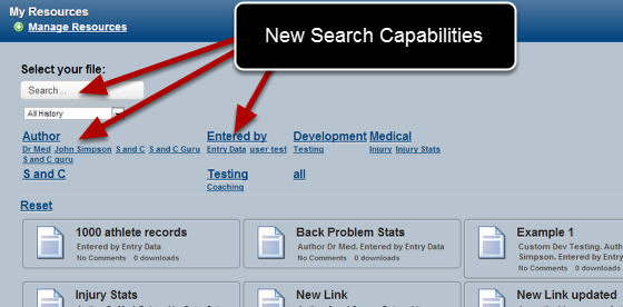 Better search capabilities have been added to manage large amounts of files stored in the My Resources Section