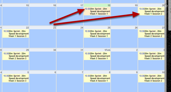 When you apply a training block to an athlete it appears on the Calendar and includes the name of the Training Block, the week and the session number