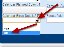 "At the bottom of the Advanced Form Properties there is a field called ""Calendar Block Details"". It is defaulted to Yes. Set it to ""No"" to turn off the training block details"