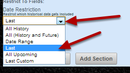 To set up a Date Restriction go to the calculation section for the Linked Field