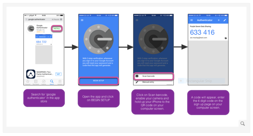 Downloading and using the Google authenticator app