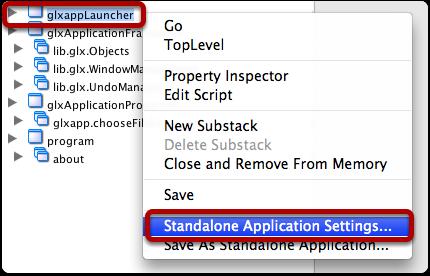Configure stack glxappLauncher