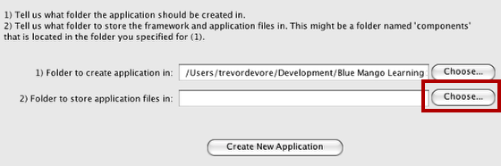Choose Folder For Application Files