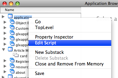 Edit application Stack Script