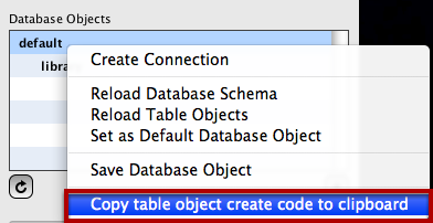 Right-Click on Database Object
