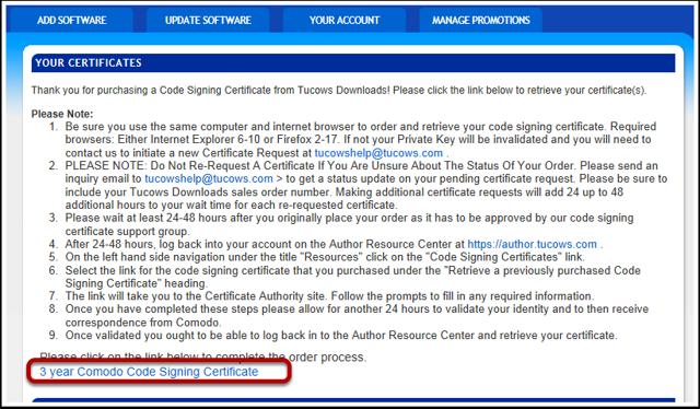 Start Comodo Code Signing Certificate Process