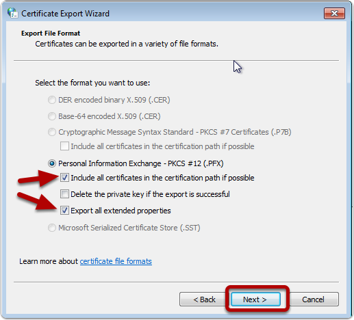 Export as PFX (Personal Information Exchange)