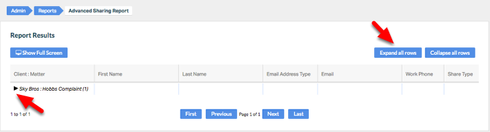 """3. Expand 'Client:Matter' field by clicking """"Expand all rows"""" or the 'caret' symbol."""
