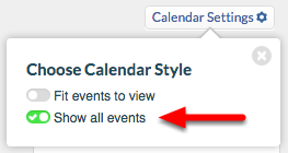 """3. Choose """"Show all events"""", and close dialog box by clicking """"x""""."""