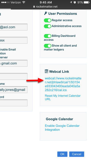 5.  Navigate to the bottom right to see your 'Webcal Link' and select  the .ics link.