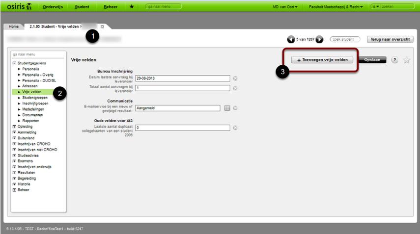 A: Individueel: Ga naar: student > student > studentgegevens > vrije velden