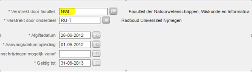 Toelatingsbeschikking namens het CvB voor de faculteit der Natuurwetenschappen, Wiskunde en Informatica (NWI)