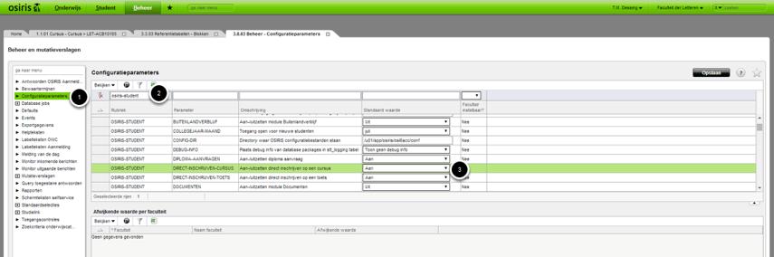 Ga naar: > Beheer > Beheer en mutatieverslagen om de cofiguratieparameters in te stellen