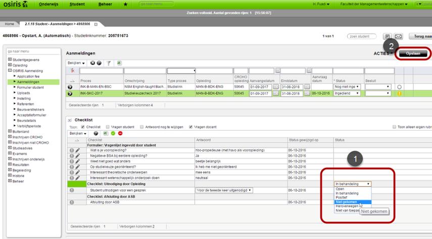 Definitieve no-show. Gebruik standaard filter SKC_RESULTAAT_GESPREK (menu 2.3.01)