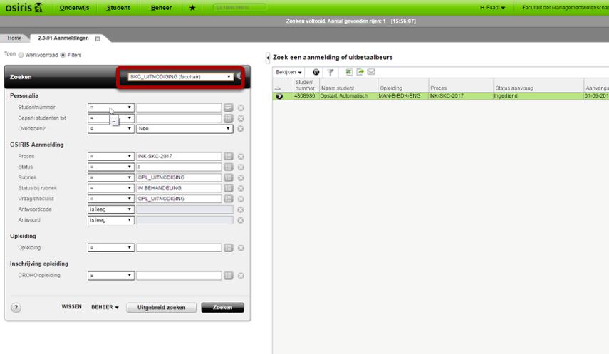 Gebruik standaard filter SKC_UITNODIGING