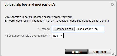 Selecteren het te uploaden zip bestand