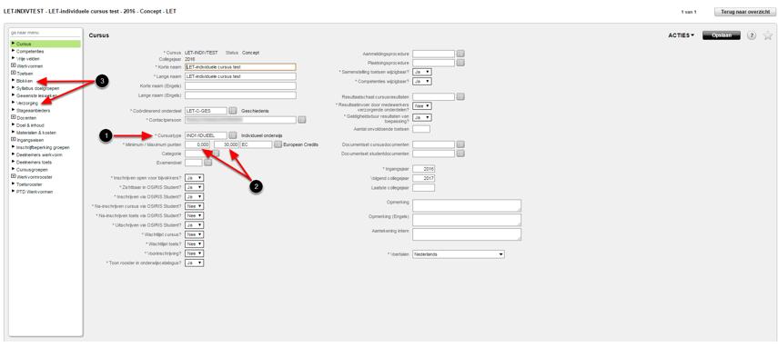 Hoe leg je individuele resultaten vast? -> stap a: aanmaken individuele cursus