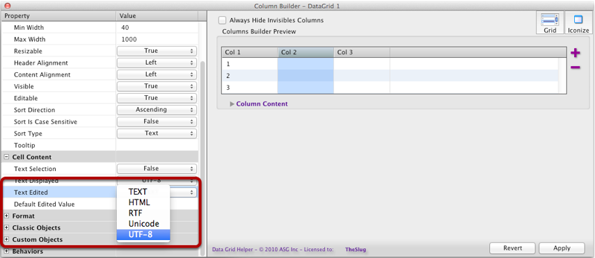 Changing the Text Edited Parameter for One Column