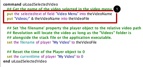 Define The uiLoadSelectedVideo Handler