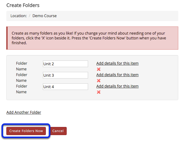 Click Create Folders Now.