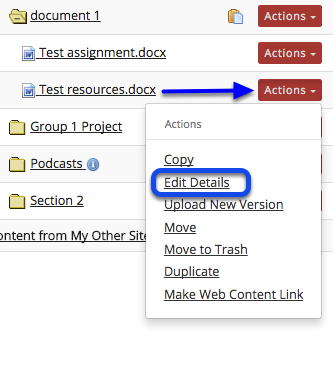 Click Actions, then Edit Details.
