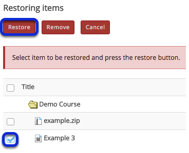 Select the items to be restored, then click Restore.