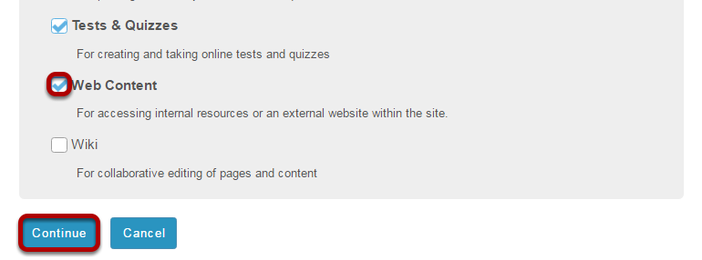 Select the Web Content tool.