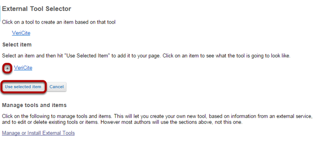 Select the LTI tool and click Use Selected Item.