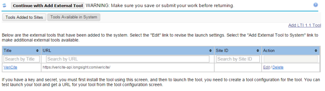 You will now see the LTI tool listed as one of the tools available in the system.